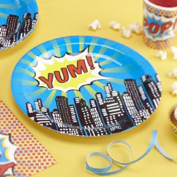 Pop Art Superhero Paper Plates -pack of 8